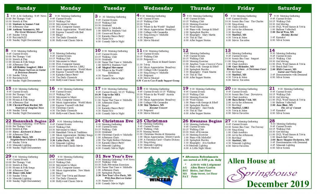 , Allen House Calendar