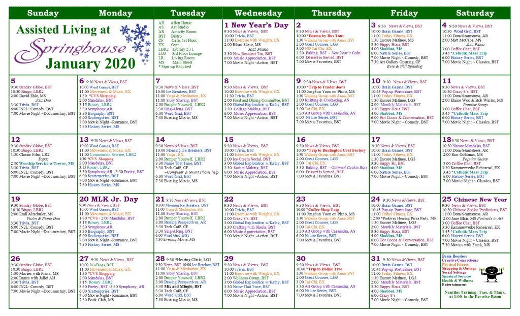 , Assisted Living at Ledgemont Calendar