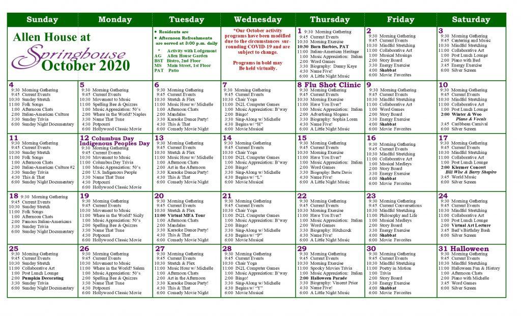 AllenHouse October Calendar