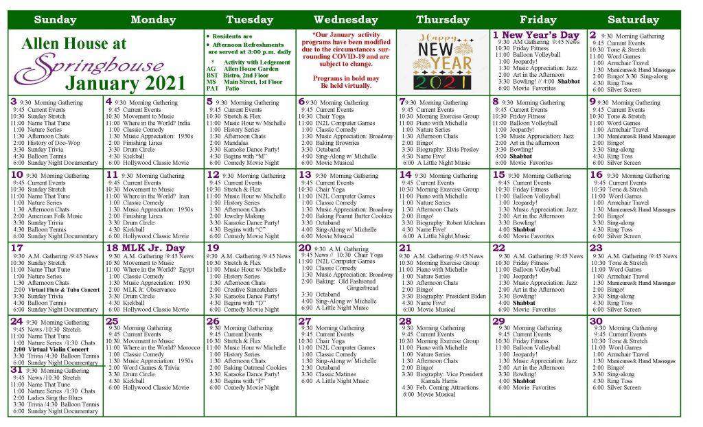Memory Support Calendar