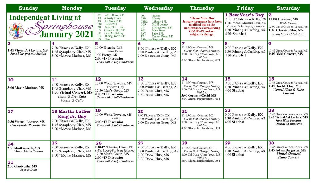 IL January Calendar