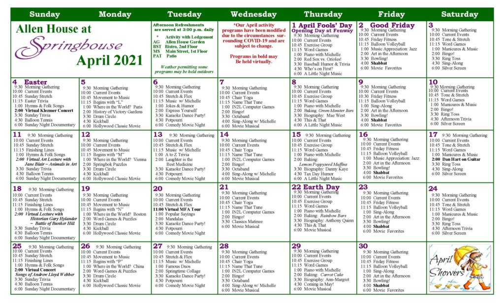 Springhouse Memory Support Calendar