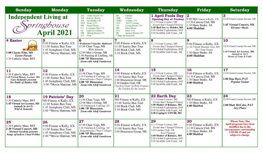 Springhouse IL calendar