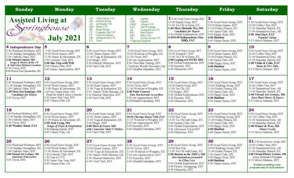 Springhouse Assisted Living Calendar