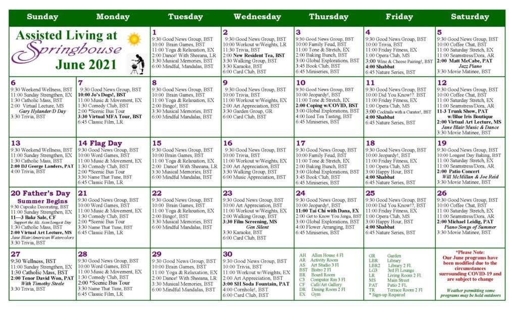 Assisted Living Activities Calendar