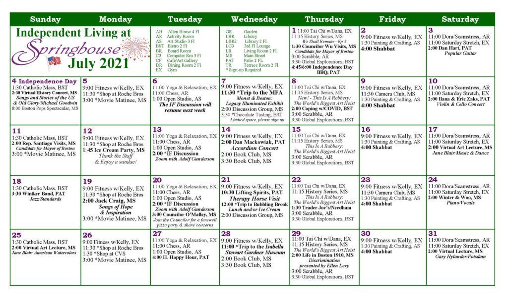 Springhouse Independent Living Calendar