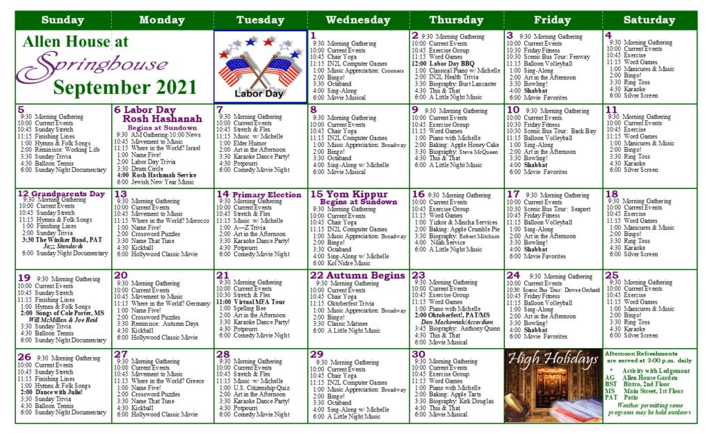 Springhouse MC Calendar